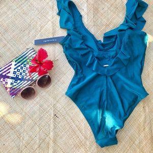 TAHARI NWT one-piece ruffled swimsuit, Size S